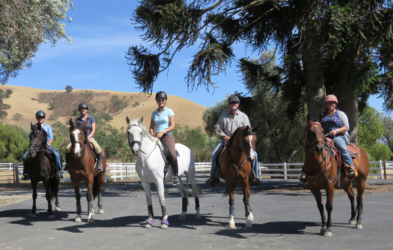 Getting ready to embark on an orchard trail ride at HC Equestrian's dressage camp at Monkey Tail Ranch